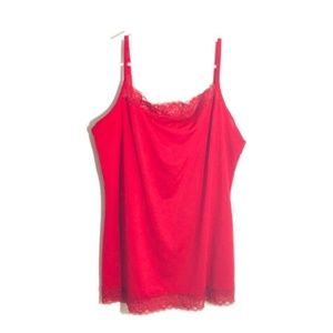 4/$25 Red Plus Size 0X Lace Trimmed Red Camisole